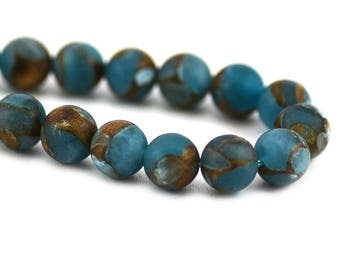 Imperial Impression Jasper Matte Teal Blue Bronze Swirls Inclusions Composite Stone Upcycled Round Bead 8mm