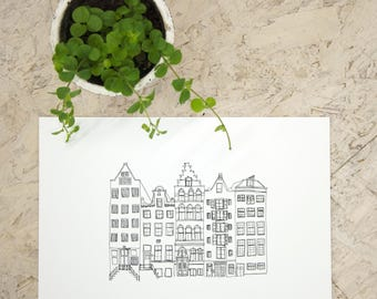 Amsterdam canal houses print, illustration, wall decoration, poster, black and white, interior decoration, print Netherlands, architecture