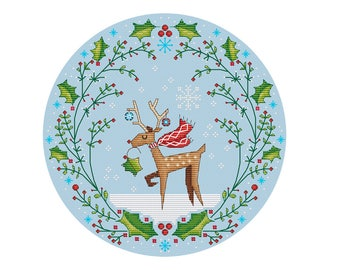 Christmas Deer Wreath - Durene J Cross Stitch Pattern - DJXS2253
