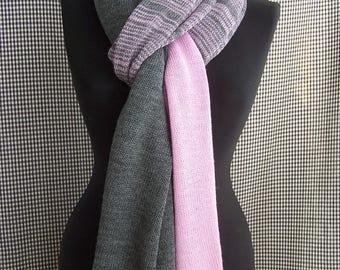 big long thin soft grey-pink melange knit wool blend scarf for men or women