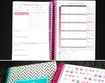 Workout Tracker Fitness Journal - 12 Week Get Fit Planner in PINK color, Motivation Diet & Fitness Journal - 3 Months