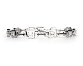 "18K Gold Diamond Bracelet, Emerald cut Bracelet , Tennis Bracelet, 1CT Tennis Bracelet, 7"" links diamond bracelet , Natural Diamond Bracelet"