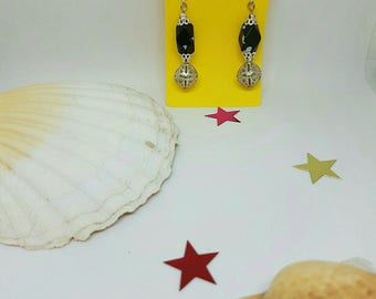 Black and white and silver bead earrings