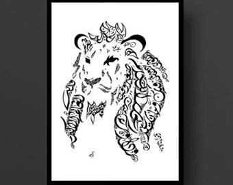 Arabic Calligraphy Art - Arabic Poetry - Imam Ali Ibn Abi Talib Poetry - Arabic Calligraphy Lion - Arabic Wall Art