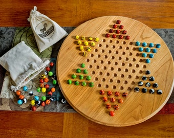 Chinese checkers game board with marbles | cherry Chinese checkers board