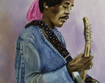 Hendrix, At Woodstock,16x20 Original Watercolor Painting,One of a Kind,Not a Print