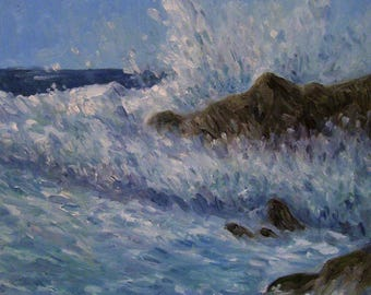 Crashing Waves,12x12 Original Oil Painting,One of a Kind,Not a Print