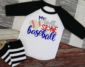 My Birthstone is a Baseball 3/4 Sleeve Baseball Raglan
