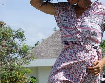 Boho Wrap frill dress/Bohemian Short Dress/Wrap belted short Dress/Trendy wrap dress * LOUISE SHORT DRESS
