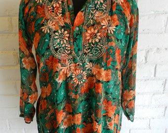 SOLD OUT-Womens Chiffon Embroidered Tunic,Indian Tunic,Embroidered Tunic,Beach Tunic,Summer Tunic,Indian Kurti, Bohemian Tunic,Printed Tunic