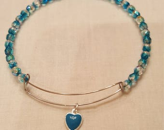 Delicate Aqua and Gold Crystal Bracelet with tiny heart charm