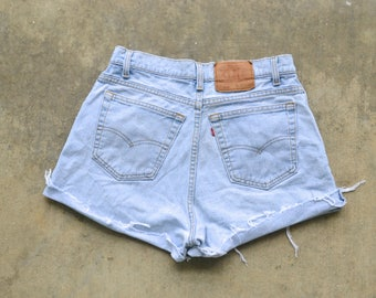 ON SALE Custom Distressed Vintage Levi's High Waisted Shorts SIZE 9/10