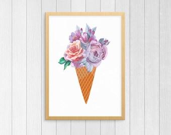 Food Art | Floral Ice Cream Cone Bouquet, Dessert Art, Watercolor Food, Ice Cream Wall Art, Ice Cream Poster, Ice Cream Print, Dessert Quote