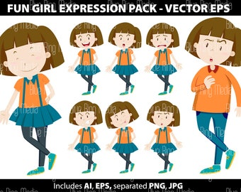 Fun Girl Expression Pack - Vector EPS