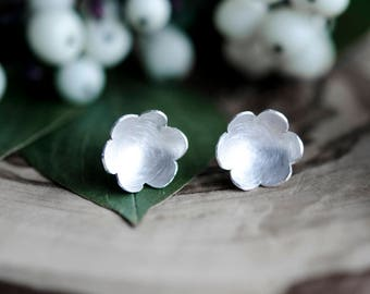 Valentine's Day Gift For Her | Small Flower Earrings | Flower Sterling Silver Earring  | Sterling Silver Stud Earrings | Flower Earring