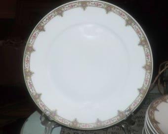Antique (c. late 1800s), RARE! Fuisseaux de Baudour Belgium hand-painted luncheon plate. Pink roses, art-nouveau flourishes.
