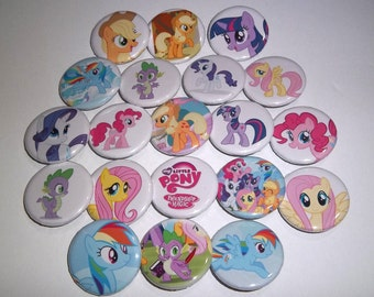 "My Little Pony Friendship Is Magic 1.25"" Pin-back Buttons, Twilight Sparkle, Pinkie Pie, Rainbow Dash, Rarity, Fluttershy, Applejack, Spike"