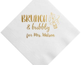 Brunch and Bubbly Personalized Bridal Shower Napkins (Style 5)