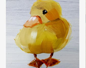 "SALE Nursery Duck ART portrait 12 point heavy stock paper PRINT of Duckling painting 8""x10 """