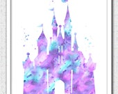 Castle printable art, purple aqua castle Instant Download, Disney castle instant download, princess castle print, lavender castle silhouette