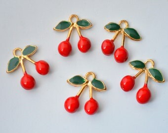 2 Pcs Cherry Enamel Charms Gold Plated Fruit 3D Cherry Charms 16x18mm - C62