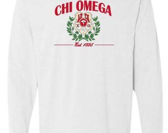 Sorority shirts, Chi Omega Crest TShirt, Big Little Gift, Comfort Colors, Sorority TShirt, Not Vinyl, Sorority Crest, Imprinted TShirt