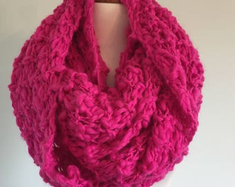 Large Dark Pink Hand Knitted Infinity Scarf