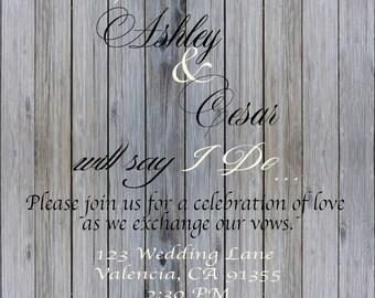Wood and Lace wedding Invitation!