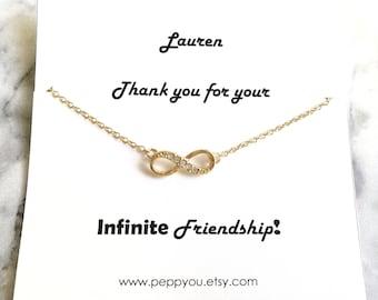 Infinity Necklace, Gold Infinity Necklace, Infinity Jewelry, Dainty Infinity Necklace, Delicate Infinity Necklace, Friendship Necklace, gift