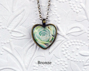 Green Succulent Necklace with Heart-shaped Glass Cabochon Heart Necklace Flower Necklace Nature Jewelry Flower Jewelry Green Rose Necklace