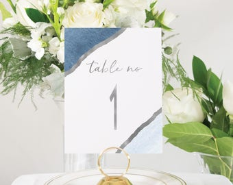 Navy Blue and Silver Foil Table Numbers Handmade Wedding, Watercolor Accent, Wedding Decor also in Gold or Rose Gold #0147
