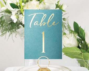 Emerald Green and Gold Foil Wedding Table Numbers, Gold Wedding Decor, Custom, Elegant, Handmade, also in Rose Gold, Silver, or Copper #0138