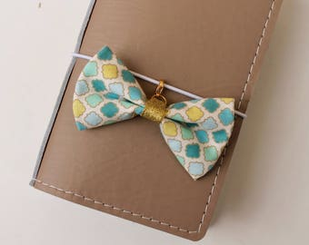 Minty -fabric bow traveler's notebook charm