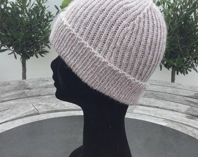 Ladies Alpaca beanie hat, dark beige alpaca watch cap by Willow Luxury (one size)