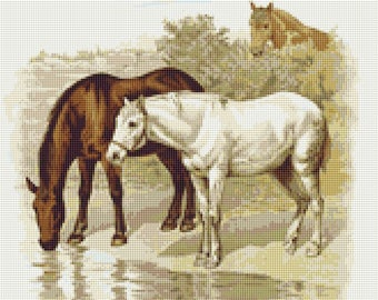 A Visit to the Farm - Horses Counted Cross Stitch Pattern / Chart,  Instant Digital Download (AP009)