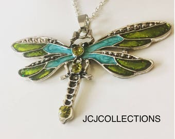 Green Dragonfly Necklace / Enamel Necklace / Gift For Her