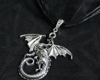Black organza cord with silver dragon pendant necklace