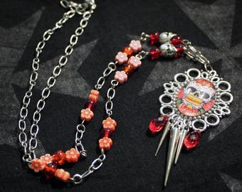 Sugar skull cameo Locket and red orange flower glass beads silver metal chain necklace spikes silver