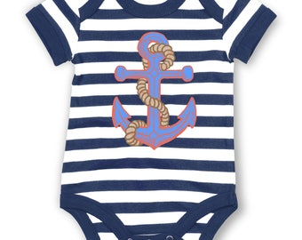 Distressed Anchor (Seiko) striped baby grow