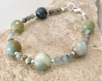 Green bracelet, amazonite bead bracelet, Hill Tribe silver bracelet, gemstone bracelet, agate bracelet, natural bracelet, gift for her