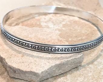 Sterling silver patterned bangle bracelet, patina bangle bracelet, stackable sterling silver bracelet, sterling silver bangle, gift for her