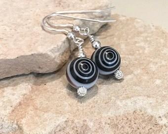 Black drop earrings, glass bead drop earrings, sterling silver earrings, silver dangle earrings, gift for her, gift for wife