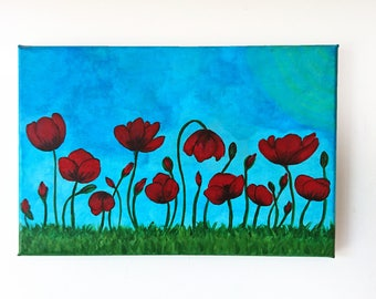 Poppies canvas, 20x30 cm canvas, Flowers painting, Acrylic poppies canvas, Red poppy painting, Acrylic nature painting, Poppies decor art