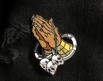 "Yoga Pray 1.75"" Hard Enamel Pin"