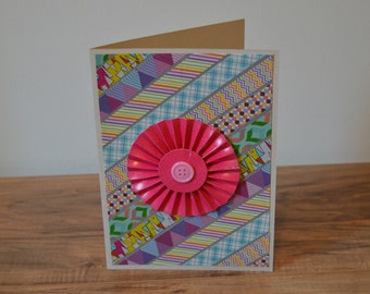 Colorful Stripe Rosett Card