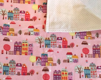 Happy Little City in Pink Marshmallow Baby Blanket-machine washable-soft-pink-unique-pink-girl-city-town-flannel-baby shower-present-cute