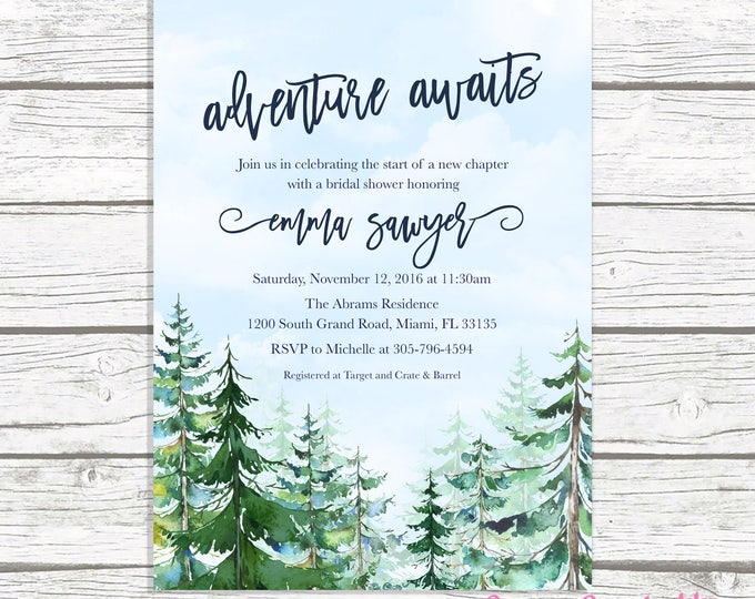 Adventure Bridal Shower Invitation, Mountain Bridal Shower Invitation, Conifer Trees Bridal Shower, Winter Bridal Shower, Adventure Awaits