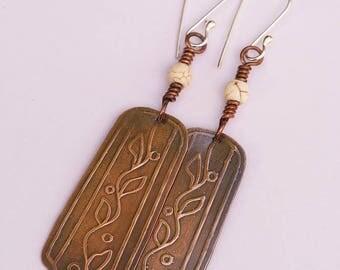 Leaf Patterned Copper Patina Earrings, Dangle Drop Earrings, Bead Earrings, Hammered Copper Earrings, Boho Gypsy Earrings, Rustic Earrings,