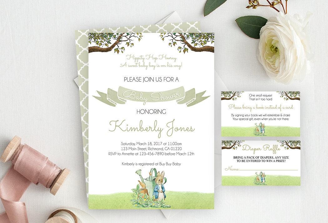 Peter Rabbit Baby Shower Invitation / Peter Rabbit Baby Shower / Beatrix  Potter / Peter Rabbit Invite / Baby Shower 3 Piece Suite/ Printable