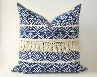Blue Macrame Aztec Pillow Cover